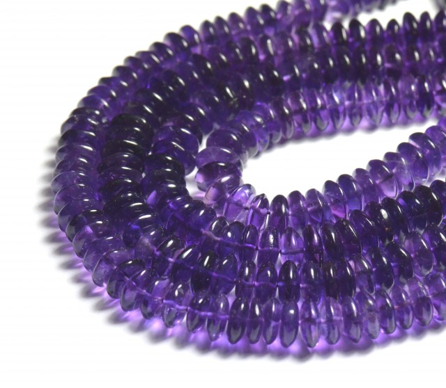 """NEW IN 7-8mm 16"""" AAA Amethyst smooth roundelle beads AM006"""