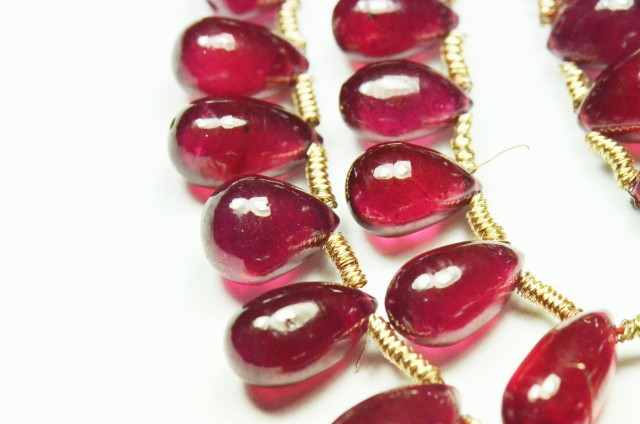 NEW ITEM 15 AAA Red Ruby briolettes 5 to 10mm RUBB001