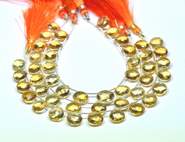 10mm 15 Citrine heart faceted briolettes AAA CITB003   NEW!