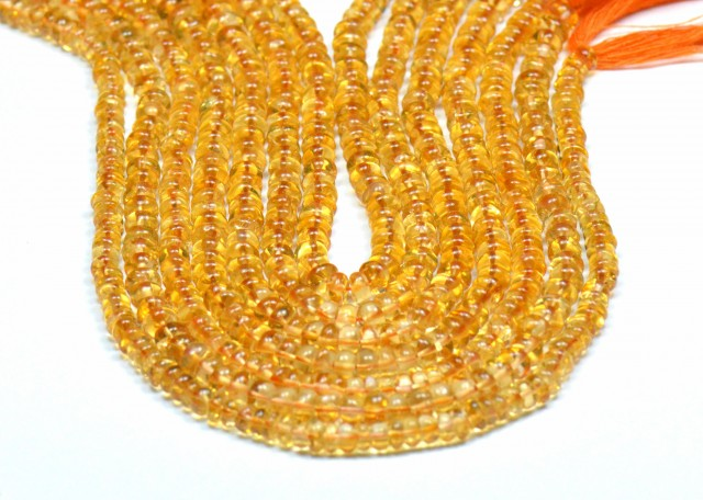 "NEW ITEM  Citrine beads 9.5"" 4.5 to 5mm smooth beads CIT008"