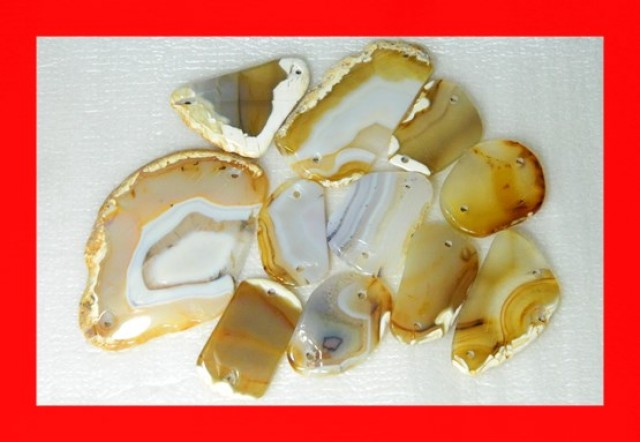 612cts 11pcs Natural Agate Slices Drilled Y121