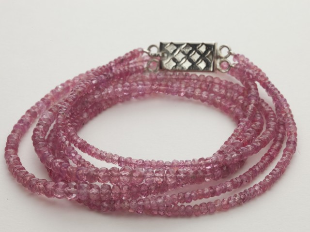 120ct Pink Spinel Bead Strands Silver Clasp (B47T-2)