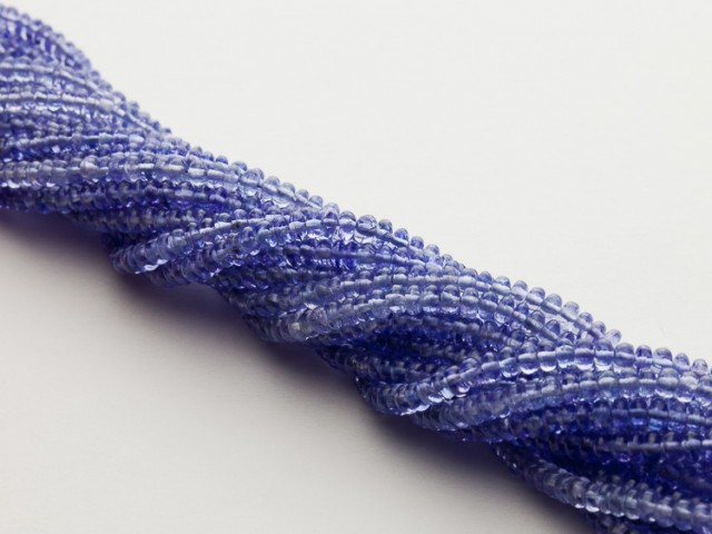 160ct Blue Tanzanite Bead Strands Silver Clasp (B56CC-3)