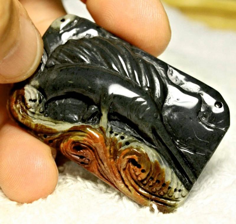 125 Ct Hand Carved Jasper Luck Charm, Sailfish - 54mm
