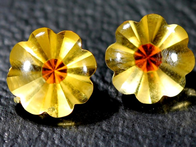 CIRTINE FLOWER CARVING  3.60 CTS pair 8x8mm LG-6