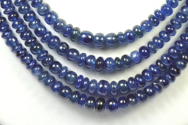 """SALE 14"""" 3mm - 5mm Sapphire beads smooth roundelles FF SA005"""