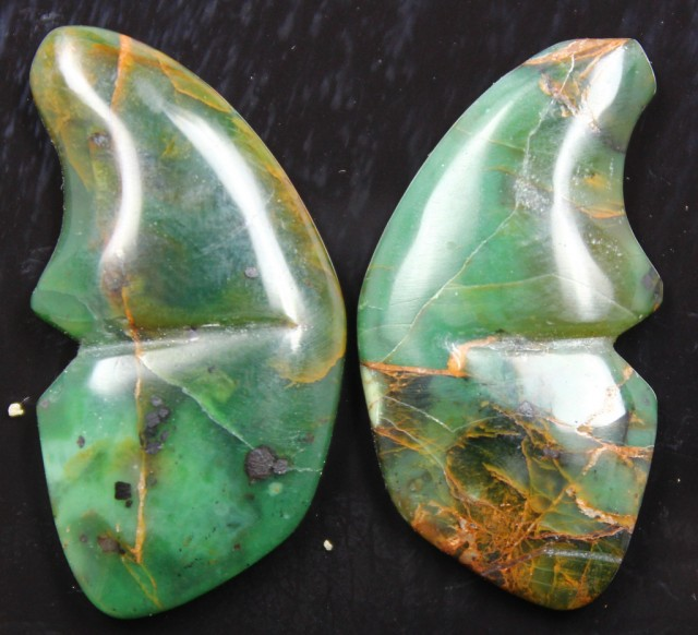 35.80 CTS JASPER SEA BUTTERFLY SHAPE AND POLISHED PAIR