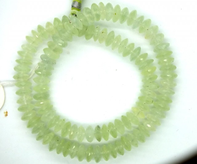 PREHNITE FACETED DRILLED BEAD STRAND  245.90 CTS  PGB-20