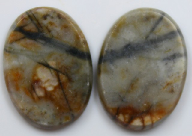26.95 CTS JASPER PAIR POLISHED STONES GREAT RANGE IN STORE