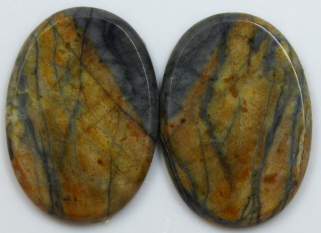 20.85 CTS JASPER PAIR POLISHED STONES GREAT RANGE IN STORE