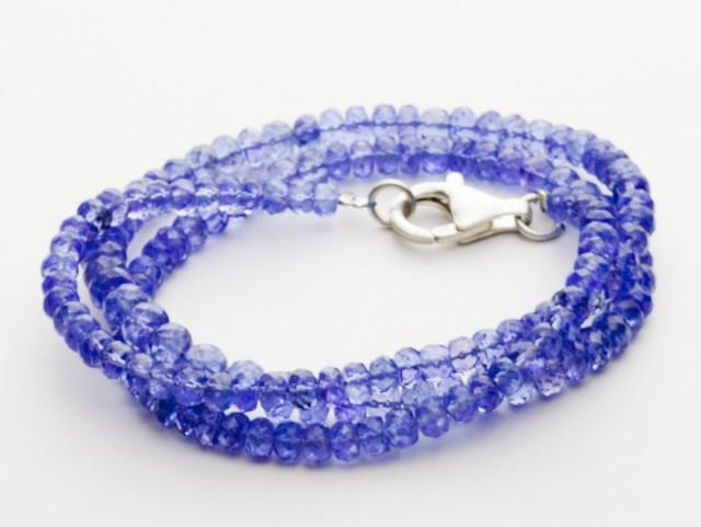 99.5ct Blue Tanzanite Bead Strands Silver Clasp (B50W1-2)