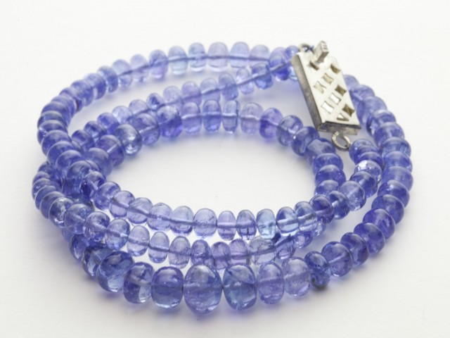 128ct Blue Tanzanite Bead Strands Silver Clasp (B52Y1-4)