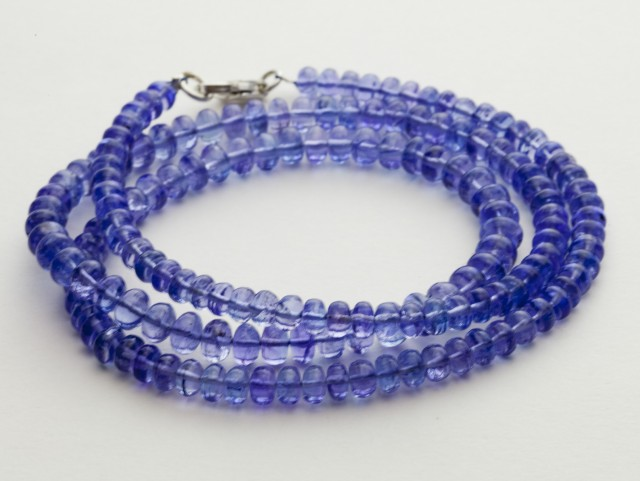 92.5ct Blue Tanzanite Bead Strands Silver Clasp (B53Z1-5)