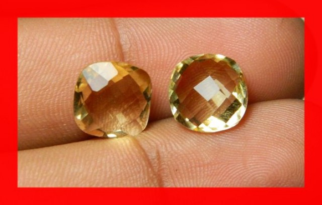 10mm VVS Natural Brazil Faceted Citrine Pair Z1027