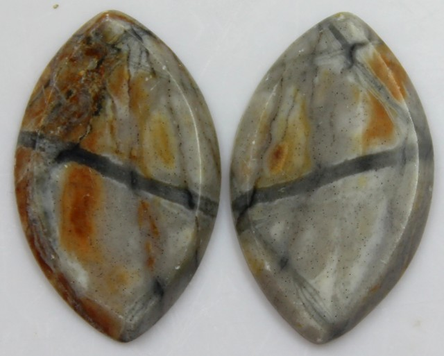 17.30 CTS JASPER PAIR POLISHED STONES GREAT RANGE IN STORE