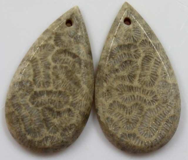 19.40  CTS  PAIR OF POLISHED CORAL NATURAL STONES- drilled -
