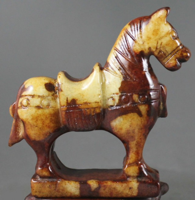 FROM A COLLECTION OLD JADE CARVING HORSE 70x72x20mm