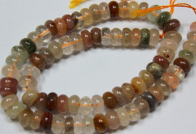 245 CTS 1 STRAND MIXED QUARTZ ROUND 8 MM STRAND 15 INCHS