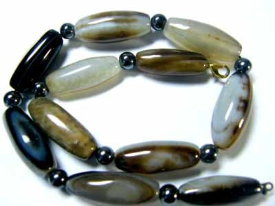 AGATE BEAD NEACLACE WITH FRESHWATER PEARLS GWE 101-9
