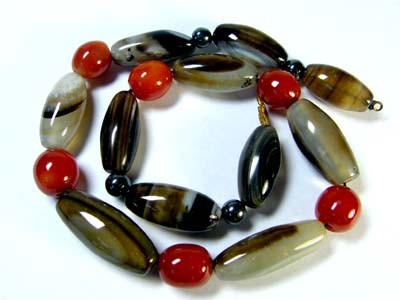 AGATE BEAD NECKLACEGWE 101-14