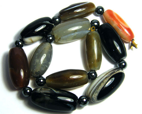 AGATE BEAD NEACLACE WITH FRESH WATER PEARLS GWE 101-24