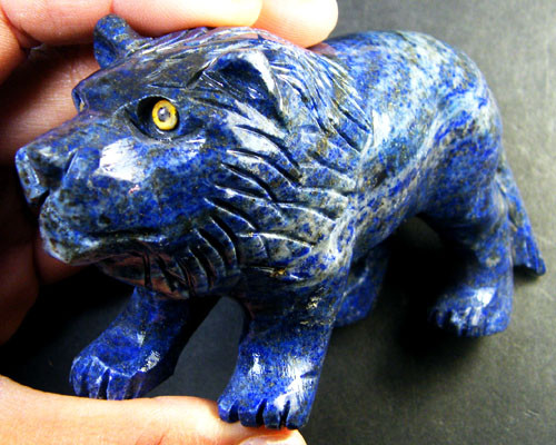 BEAUTIFUL LAPIS LION CARVING 1500 CARATS  GWF 11