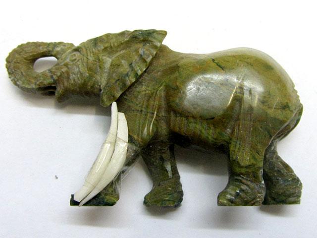 327 CTS SERPENTINE ELEPHANT  TRIBAL CARVING  MYGM 1466