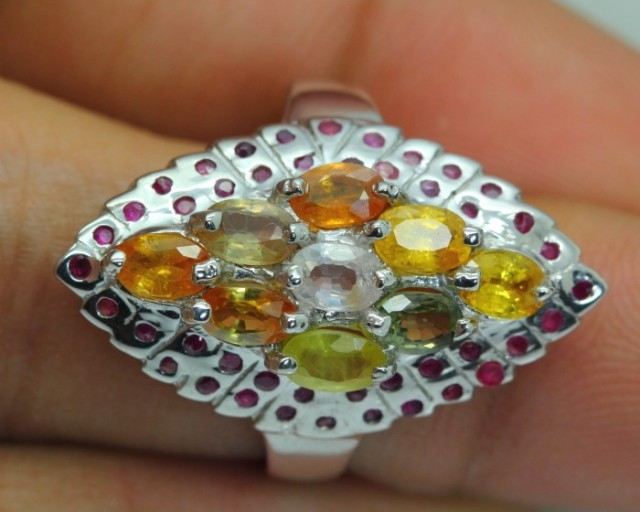 24.81ct Stamped 925 Silver Ring Sz 7.5/ Fancy Sapphire / Ruby
