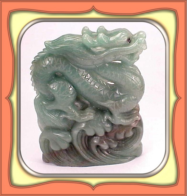 1234.0ct Chinese Green Aventurine Carved Dragon