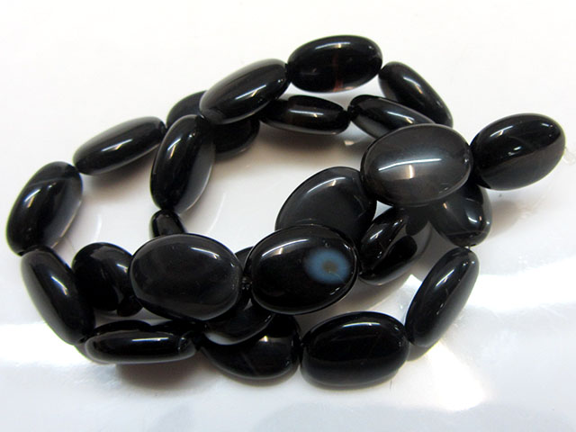 225 cts Strand Black  Agate Beads   GG1640