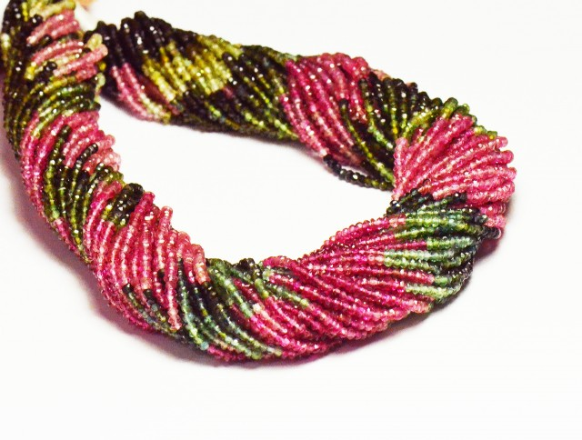 """NEW 2mm 13"""" Watermelon Tourmaline AAA faceted beads TOU013"""