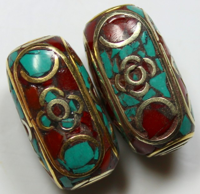 103 CTS  2  PIECES TIBETAN - NEPAL UNIQUE BEAD HAND MADE WORK P625