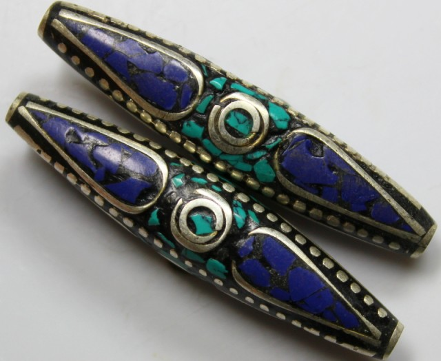 100CTS  2  PIECES TIBETAN - NAPAL UNIQUE BEAD HAND MADE WORK P627
