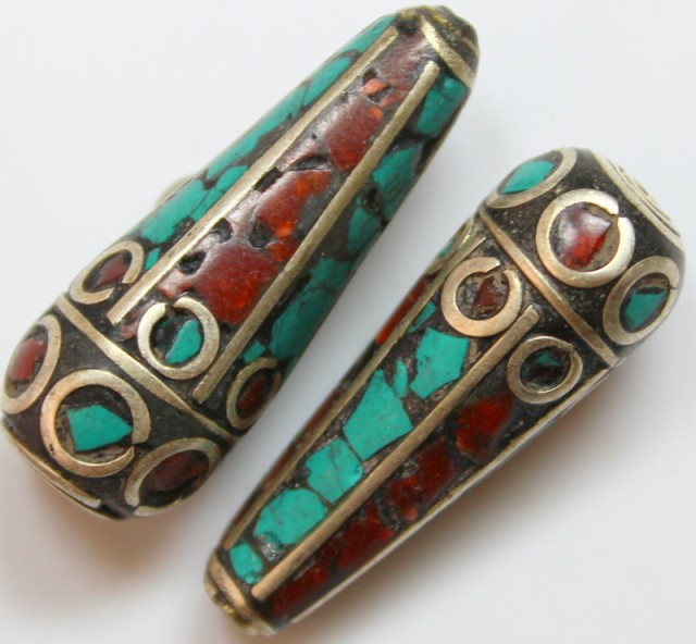 84 CTS 2 PCS ANCIENT TIBETAN NAPAL UNIQUE BEAD HAND MADE P644