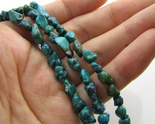 70 Cts Three  Natural  Turquoise Strands  GG191