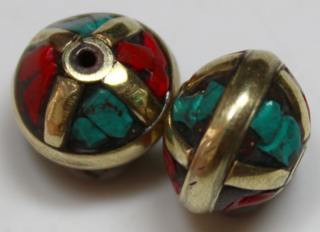 31.00 CTS 2 PCS ANCIENT TIBETAN NAPAL UNIQUE BEAD HAND MADE P661
