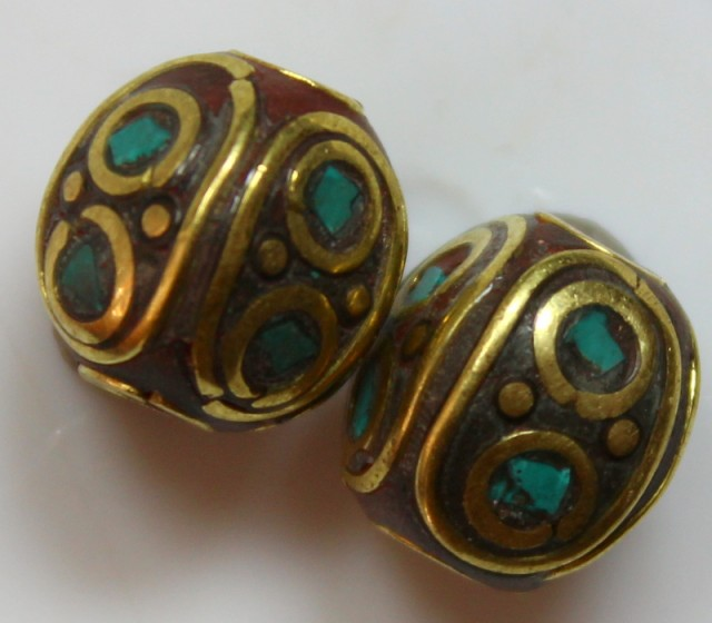 18.80 CTS 2 PCS ANCIENT TIBETAN NAPAL UNIQUE BEAD HAND MADE P671
