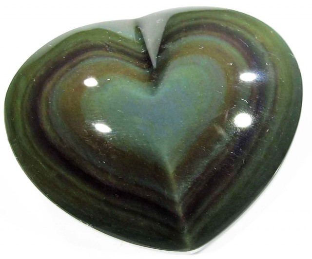 43.60 CTS  RAINBOW OBSIDIAN HEARTS -IRIDESCENCENT [MGW4106]