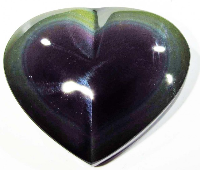 26.22 CTS  RAINBOW OBSIDIAN HEARTS -IRIDESCENCENT [MGW4109]