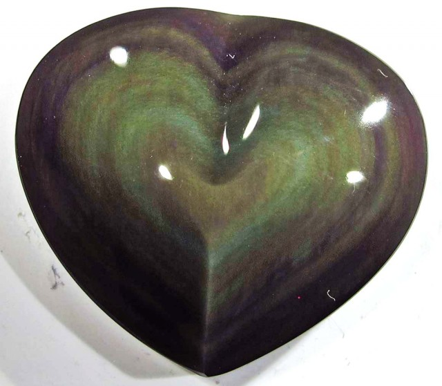 31.98 CTS  RAINBOW OBSIDIAN HEARTS -IRIDESCENCENT [MGW4132]