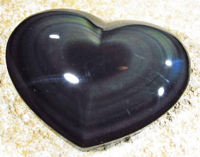 37.52 CTS  RAINBOW OBSIDIAN HEARTS -IRIDESCENCENT [MGW4136]