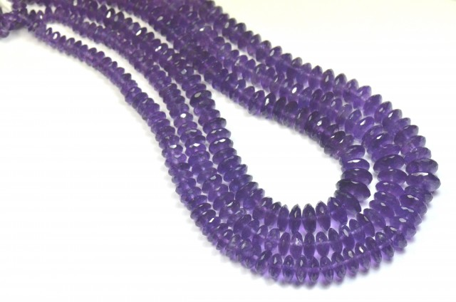 SALE 5MM - 11MM AAA AMETHYST FACETED ROUNDELLE BEADS AM012
