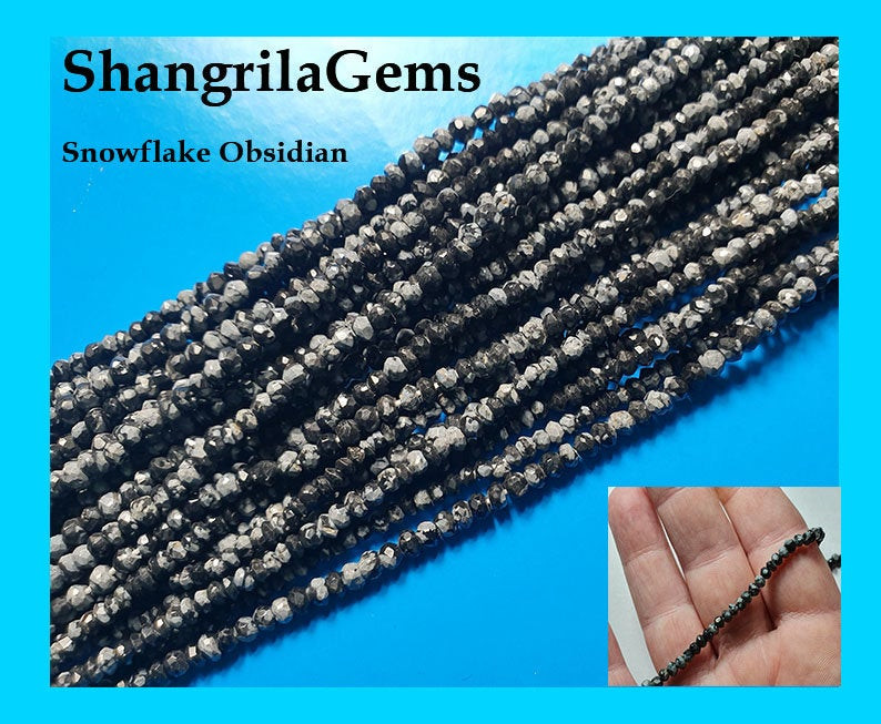 3mm 14 inch Snowflake Obsidian Black grey 3mm 14inch line faceted beads