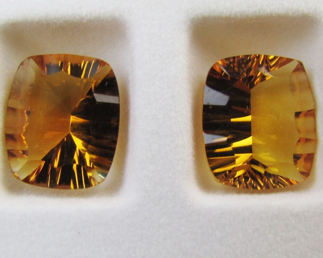 11.1 Cts Pair  faceted clean Citrine GG 2291