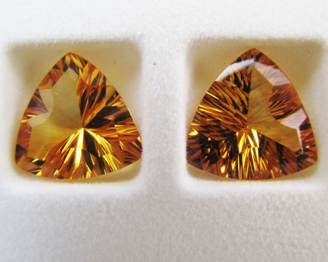 12.7Cts Pair faceted clean Citrine GG 2292