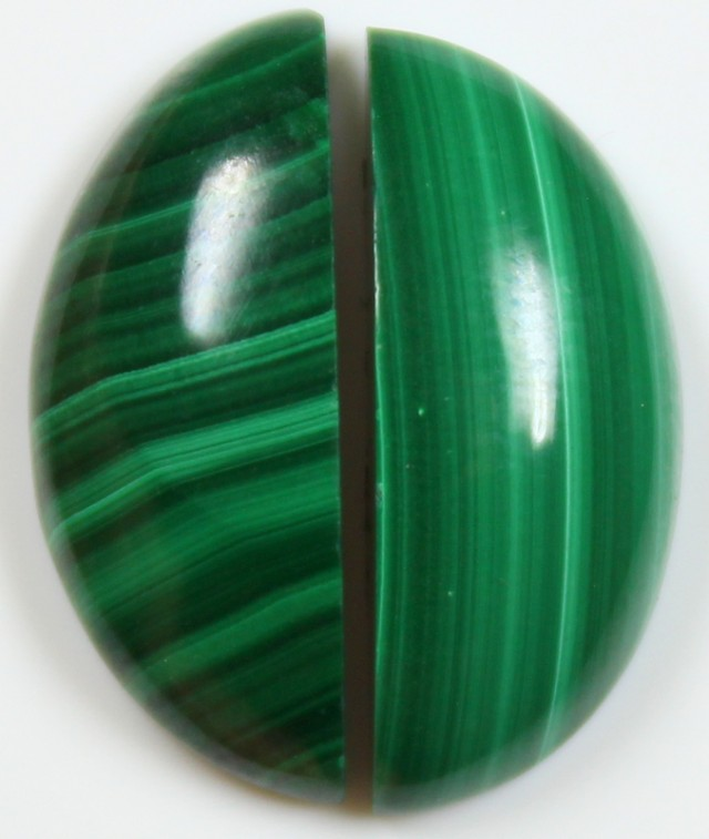 16 CTS MALACHITE PAIR OF STONE TOP GLOSSY POLISH ON STONES