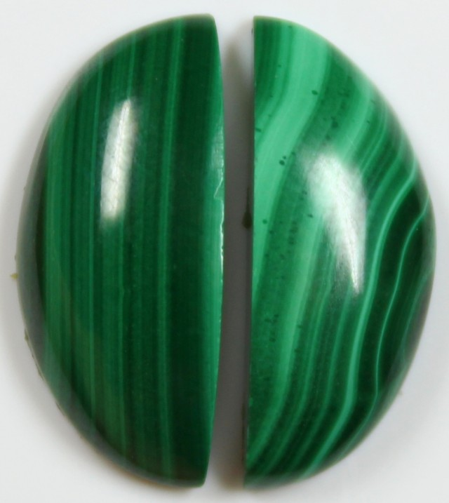 17 CTS MALACHITE PAIR OF STONE TOP GLOSSY POLISH ON STONES