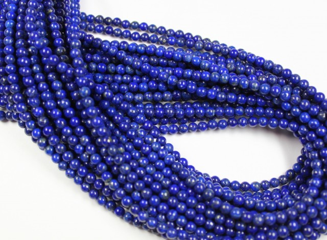 1 STRAND LAPIS LAZULI 4 MM ROUND BEADS - 16 INCH LENGHT