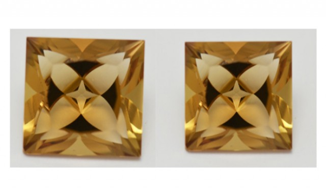 Pair Square 10mm Champagne Quartz Precision Gems 8.52cts