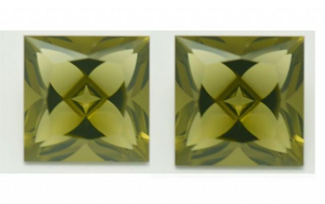 Pair Square 10mm Olive Green Quartz Precision Gems 8.52cts